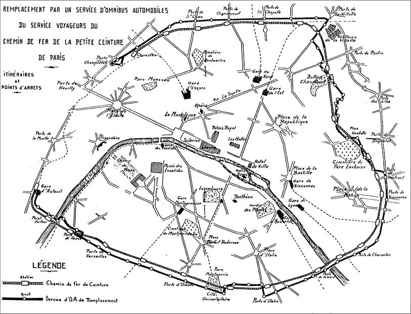 Carte de la ligne PC en 1934